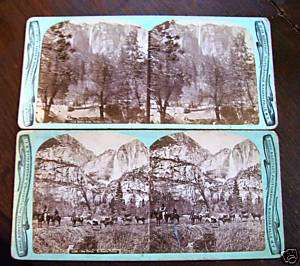 early photo stereoview card Chas Bierstadt Yosemite