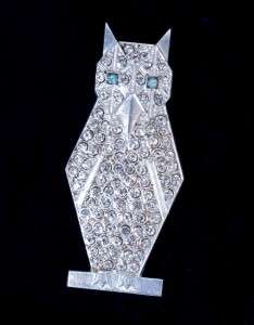 Vintage Art Deco 1920s Silver Plated Paste Pave Rhinestone Owl Pin