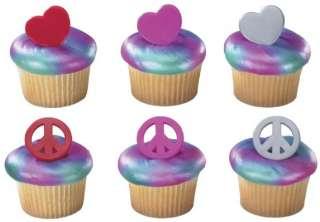 PEACE Sign HEARTS Love 12 Birthday Cake Cupcake RINGS