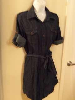 Black Denim Shirt Dress retro rockabilly pinup vintage