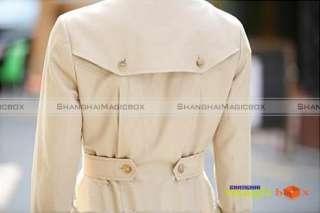 Fashion Women Double Breasted Long Trench Coat Jacket Beige Black#042