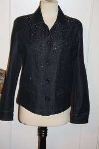 Christine Alexander Black Denim Jacket Swarovski Crystal sz.S NEW