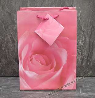 20pc Pink Rose Jewelry Shopping Gift Bag Tote 6 3/4H