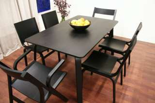 Designer Mid Modern Black Wood Dining Room Table and Chairs Set