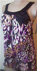 Blooming Rose Purple Tank Top Shirt Blouse