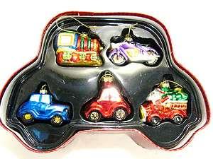 Handpainted Blown Glass Christmas Ornaments Cars/Train/Bike 5 Pcs Set