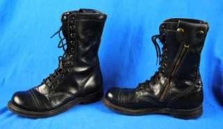 Leather Jump Combat Boots Punk Zippered Size 8 Talon Zipper