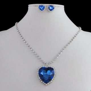 Titanic Heart of Ocean Necklace Earring Set Blue Swarovski Crystal