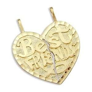 14k Yellow Gold Breakable Heart Best Friends Pendant