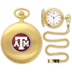 Texas A&M Aggies TAMU NCAA Gold Pocket Watch: Sports