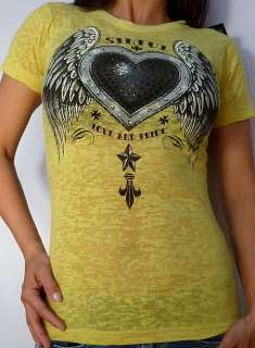 Sinful by Affliction METAL HEART Womans Short Sleeve Tee Shirt