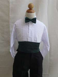 HUNTER GREEN CUMMERBUND BOW TIE SET FOR BOY TUXEDO SUIT