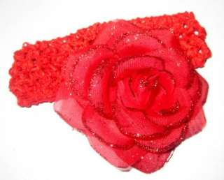 Shimmer Rosette Flower Band Baby Girl Rose Hair Bow Headband Holiday