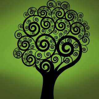 Vinyl Wall Decal Sticker Swirling Circle Tree 6ft tall