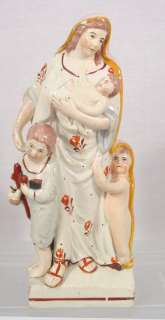 OLD STAFFORDSHIRE CHARITY FIGURE MOTHER & CHILDREN c1780s