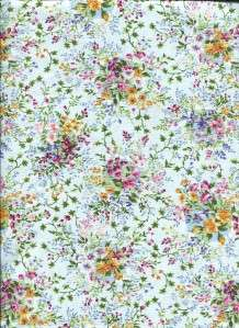 SWEET VICTORIA SMALL FLORAL LT BLUE   Cotton Fabric BTY for Quilting