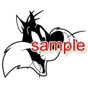 SYLVESTER THE CAT HEAD WHITE VINYL DECAL STICKER