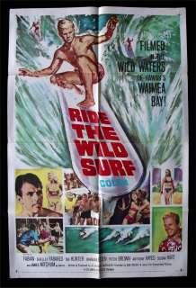 RIDE THE WILD SURF *1SH ORIG MOVIE POSTER SURFING BEACH