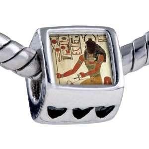 Pandora Style Bead Egyptian God Khepri Photo Heart European Charm Bead