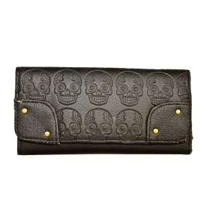 The Loungefly Black Sugar Skull wallet features a mini Sugar Skulls