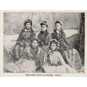 1899 Print Hawaiian Girl Women Costume Dress Lei Hawaii