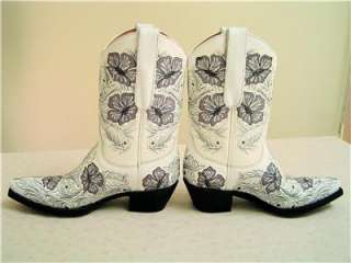 Sheridan White+Gray/Grey Flowers Embroidered Womens Cowboy Boot