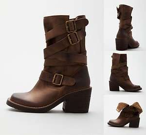 NEW JEFFREY CAMPBELL DARK BROWN DEANNE 3 WRAP ANKLE BOOTS BIKER RIDER