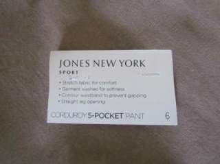 JONES NEW YORK New Khaki Corduroy Straight Leg Stretch 5 Pocket Pants