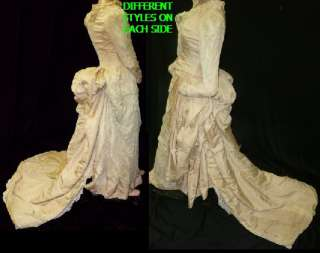 VTG VICTORIAN 1870 1880 WEDDING DRESS BUILT IN BUSTLE IVORY GOWN DRESS