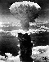 Atmoic Bomb Mushroom Cloud Nagasaki, B 29   WWII Photo