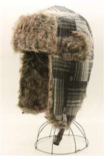 Soft Plaid Bomber Aviator Trapper Trooper Ear Flap Fur Wool Russian
