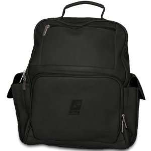 Pangea Black Leather Large Computer Backpack   Phoenix