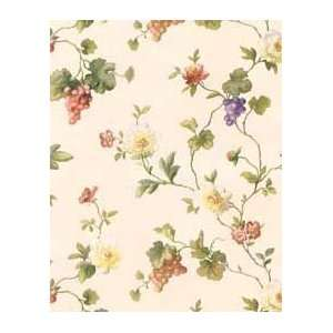 Vines with Flowers and Grapes Peach and Purple Wallpaper in Mulberry