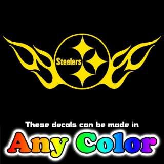 Steelers Logo w Flames 23 Chrome Window Sticker Decals