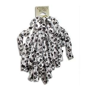 Black & White Puppy Paw Print 4 PK Curly Ribbons Peel & Stick Gift
