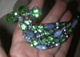 VINTAGE HATTIE CARNEGIE HUGE GIVRE BLUE GREEN RHINESTONE CZECH GLASS