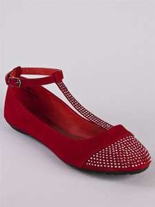 NEW BAMBOO Women Rhinestone Stud T Strap Ballet Flat Dress Shoe sz Red