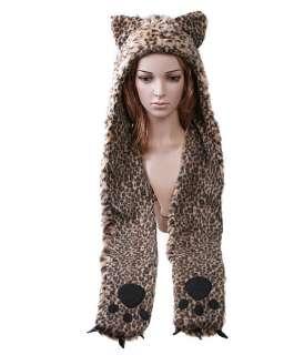 Cartoon Animal Leopard Plush Soft Warm Cap Hat Earmuff Scarf Dark