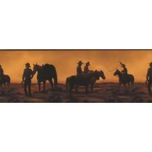 Cowboy Silhouette Wallpaper Border   15 roll Home