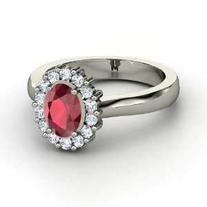 Princess Kate Ring, Oval Ruby Platinum Ring with Diamond