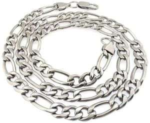 SOLID STAINLESS STEEL SILVER TONE HIGH POLISHED MENS FIGARO NECKLACE