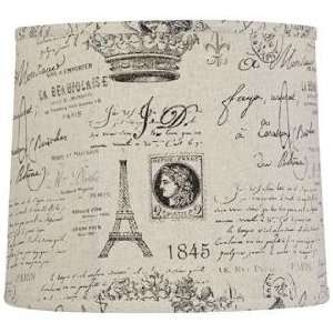 French Script Document Drum Lamp Shade Country Shabby
