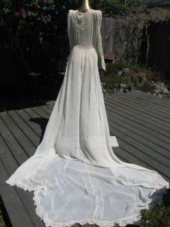 40s DIVINE SHEER W/ CHANTILLY LACE LONG TRAIN RUCHED WEDDING DRESS*S