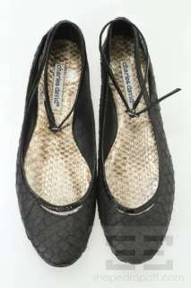 Charles David Black Embossed Leather Patent Wrap Around Flats Size 8.5