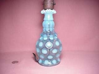 VINTAGE FENTON BLUE OPALESCENT COIN DOT OPTIC ELECTRIC ART GLASS LAMP