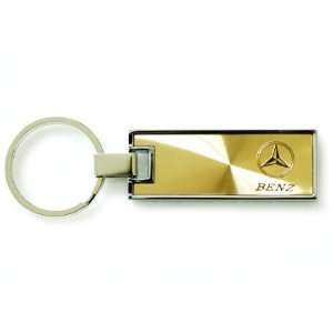 Mercedes Benz Rectangle Key Chain Gold