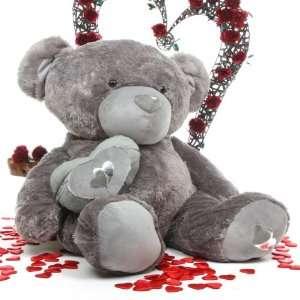 Snuggle Pie Big Love Cute Life Size Silver Teddy Bear 56in