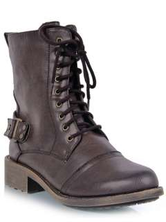 Lace Up Combat Military Heel Ankle Boot Booty sz Brown relax60