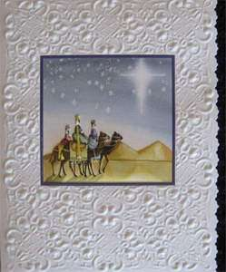 CAROL WILSON CHRISTMAS GREETING CARD HOLIDAY PEACE ON EARTH EMBOSSED