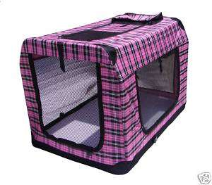 42 Portable Pink Plaid Pet Dog House Soft Crate Cage 814836012423